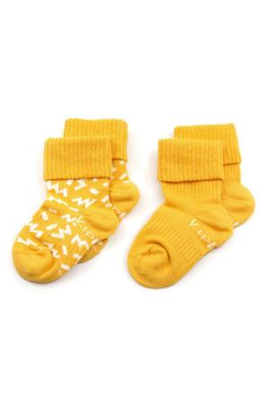 blijf-sokken 6-12 maanden geel