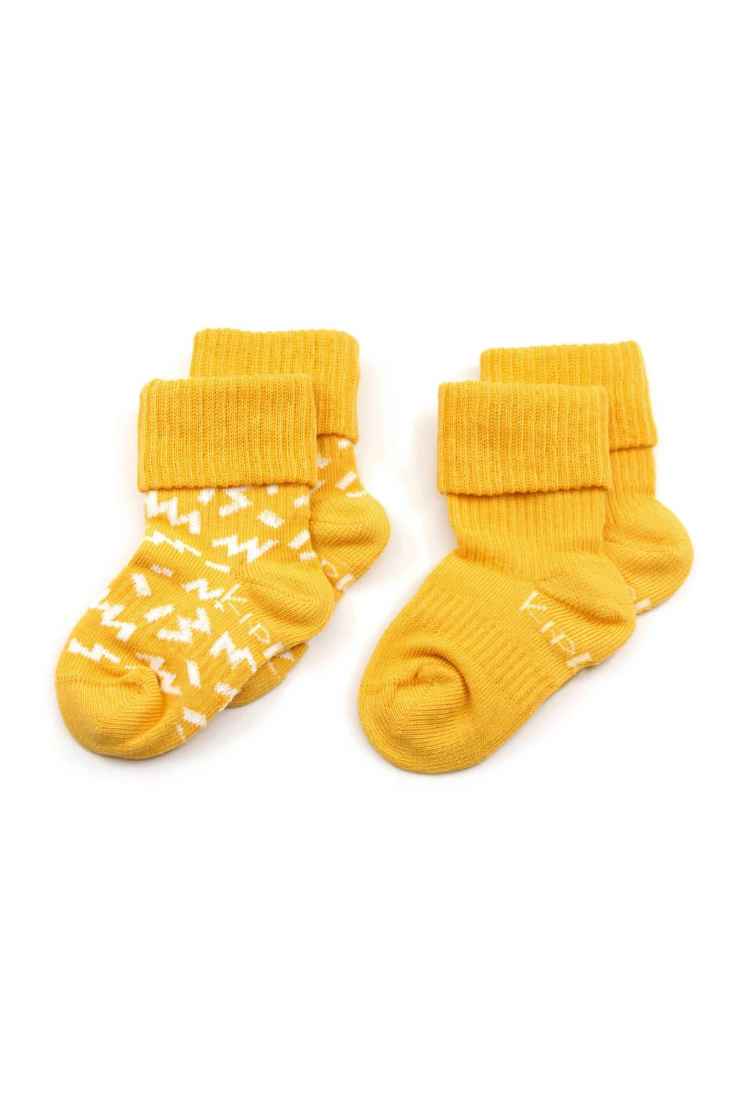 KipKep blijf-sokken 0-6 maanden - set van 2 geel, Geel