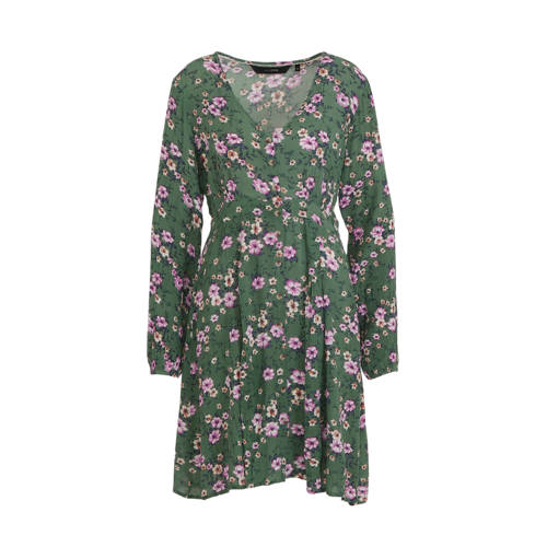 anytime crinkle viscose jurk met bloemenprint groe