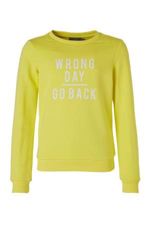 sweater met tekst geel/wit