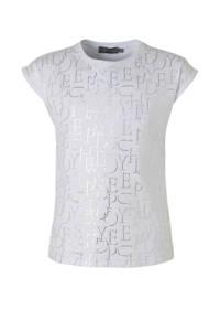 Geisha T-shirt met all over print wit/zilver, Wit/zilver