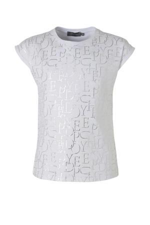 T-shirt met all over print wit/zilver