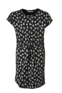 Geisha jersey jurk met all over print zwart/wit, Zwart/wit