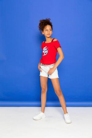 off shoulder T-shirt met tekst rood/wit/blauw