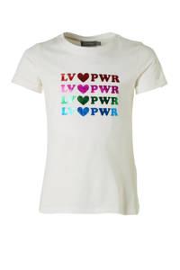 Geisha T-shirt met tekst wit/multi, Wit/multi