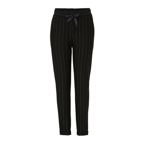 Geisha straight fit broek met krijtstreep zwart/za