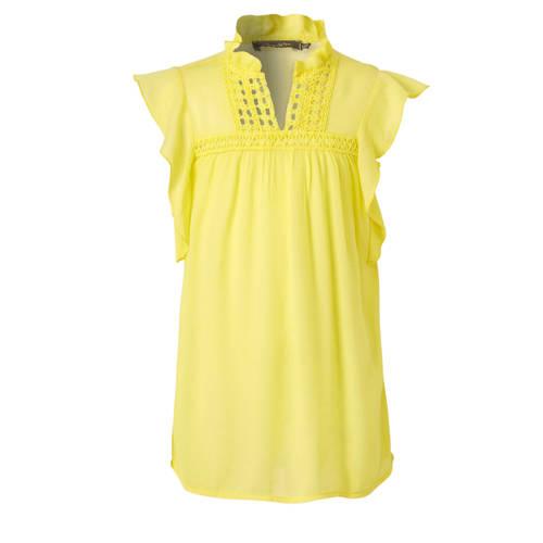 Geisha top met ruches geel
