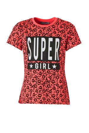 T-shirt met all over print fuchsia/zwart/wit