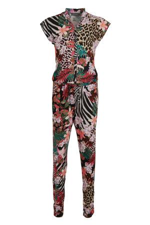 jumpsuit met bloemendessin zwart/multicolor