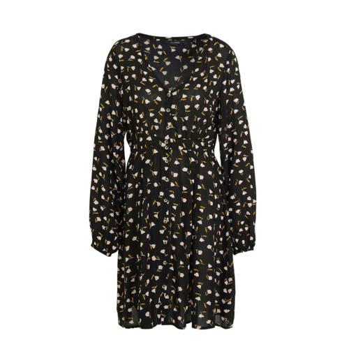anytime crinkle viscose jurk met bloemenprint zwart