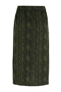 anytime Waste2Wear wikkel-look rok met slangenprint groen, Groen/zwart