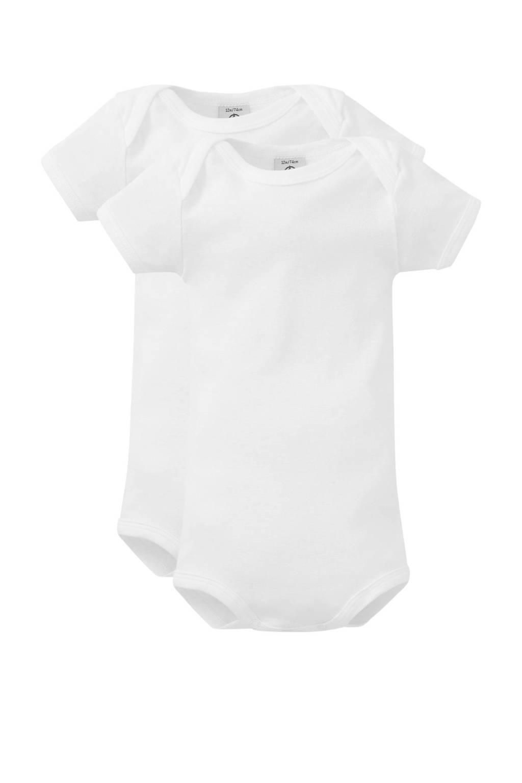 Petit Bateau newborn baby romper - set van 2 wit, Wit