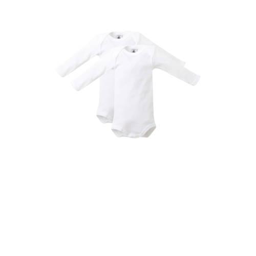 Petit Bateau longsleeve baby romper wit - set van