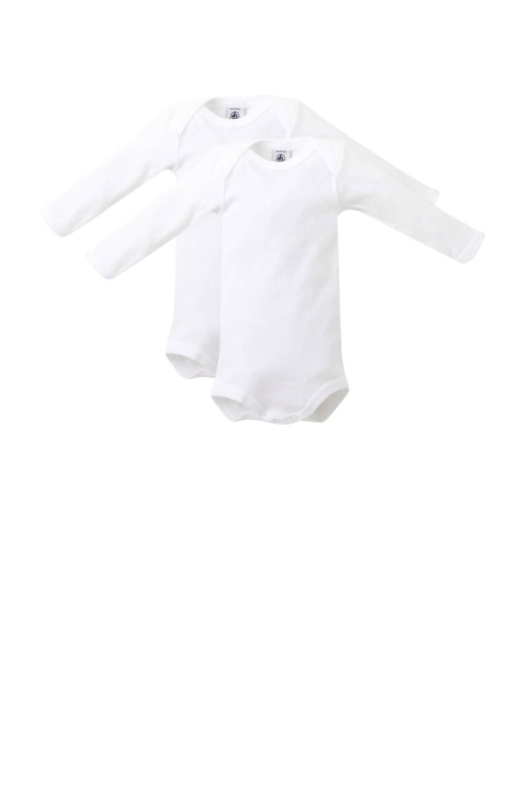 Petit Bateau longsleeve baby romper wit - set van 2, Wit