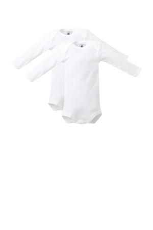 longsleeve baby romper wit - set van 2