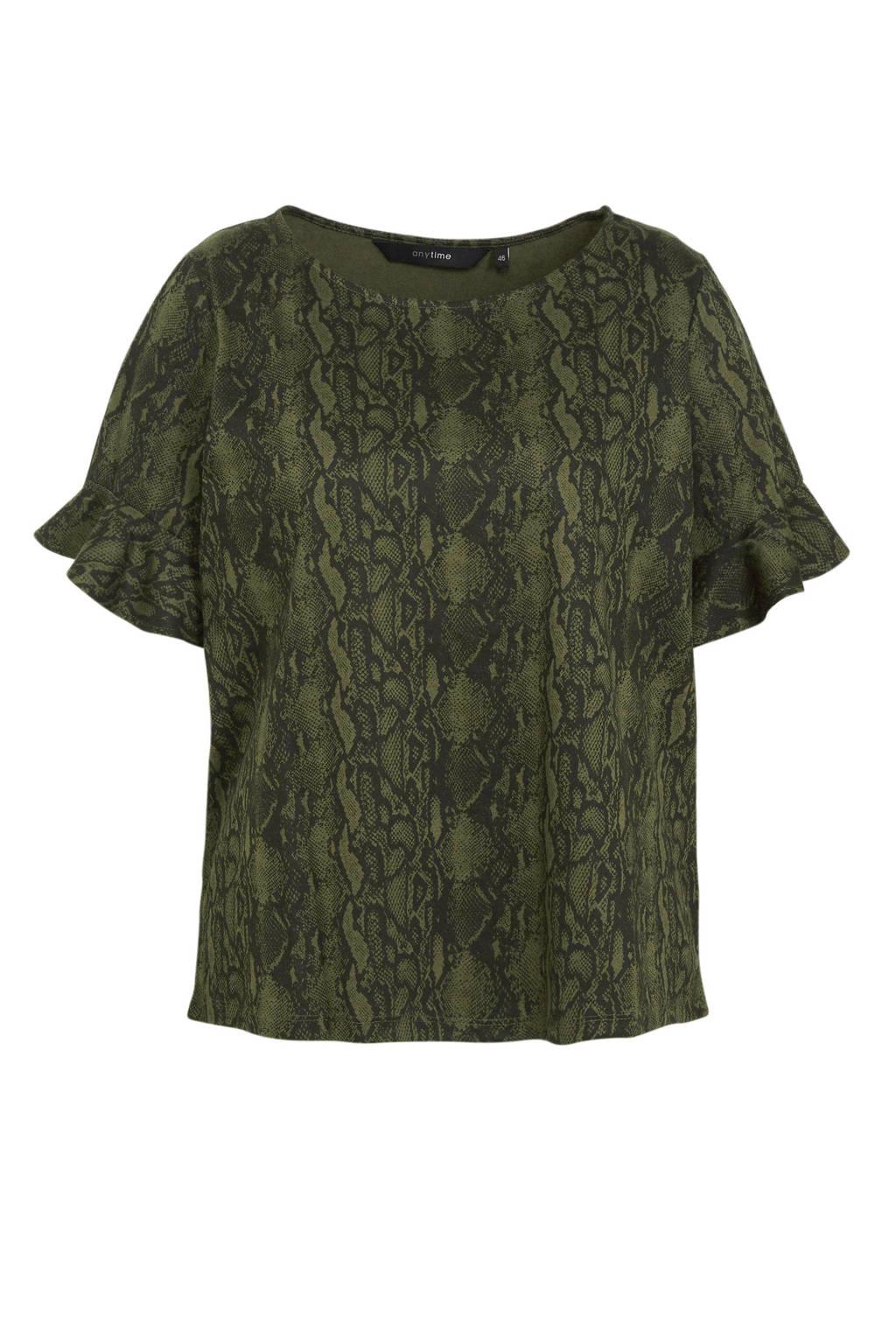 anytime top Plus size met W2W polyester en slangenprint groen, Groen/zwart