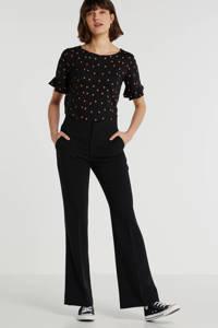 anytime top met W2W polyester zwart met stippenprint, Zwart/rood