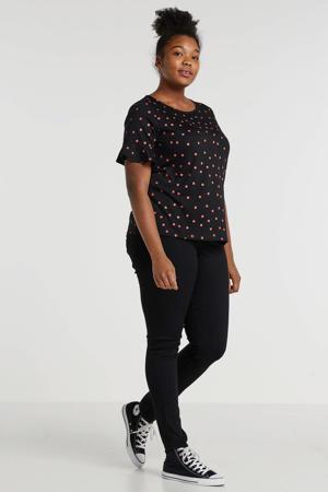 top Plus size met W2W polyester zwart met stippenprint