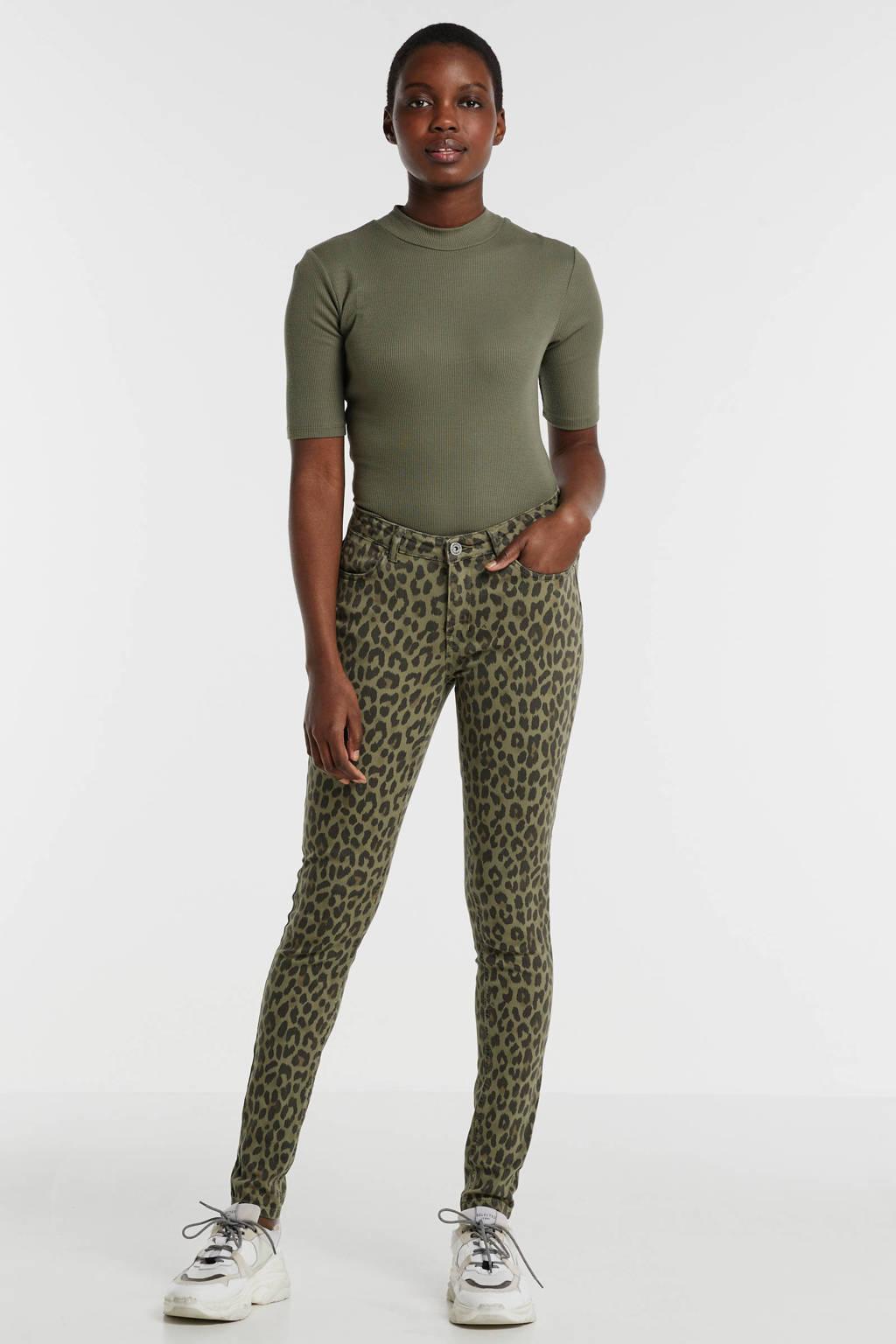 anytime skinny broek met panterprint groen, Groen/grijs/bruin