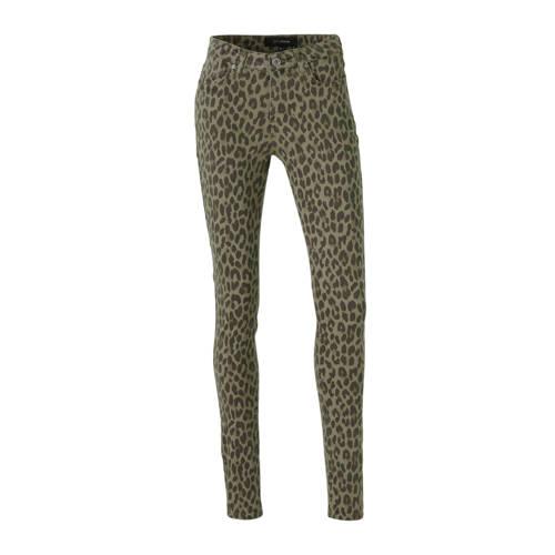 anytime skinny broek met panterprint groen