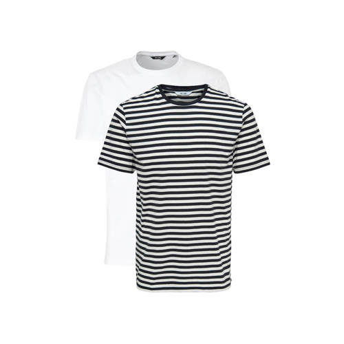 ONLY & SONS gestreept T-shirt marine/wit set v