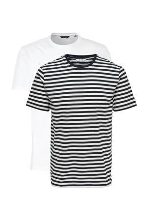 gestreept T-shirt marine/wit set van 2