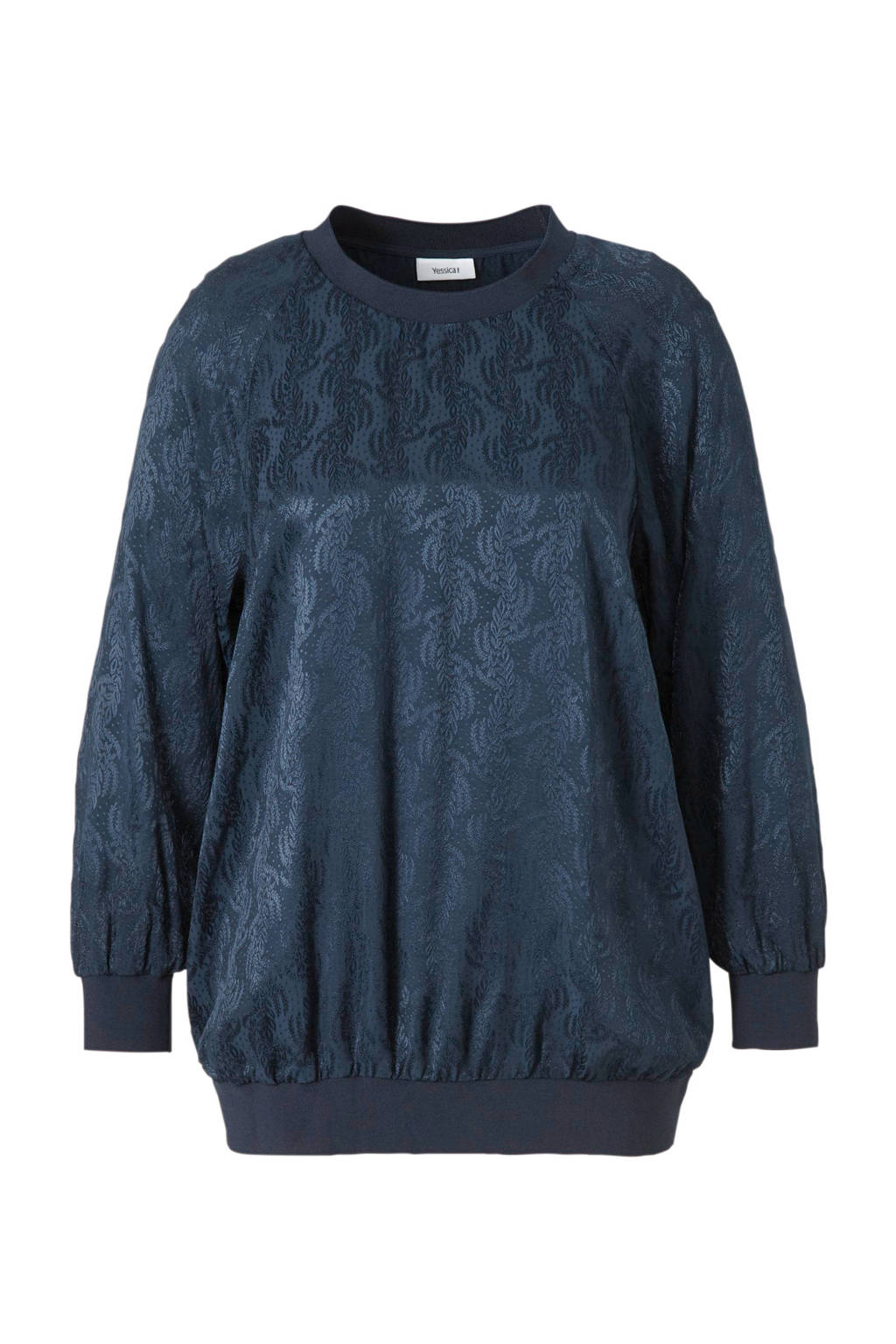 C&A XL Yessica top met jacquard en glitters donkerblauw, Donkerblauw