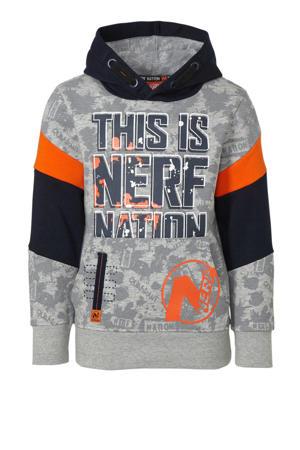 Nerf hoodie met tekst grijs/oranje/donkerblauw