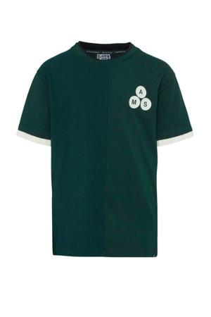 T-shirt met printopdruk donkergroen/wit