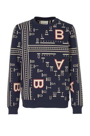 sweater met all over print donkerblauw/ecru/oranje