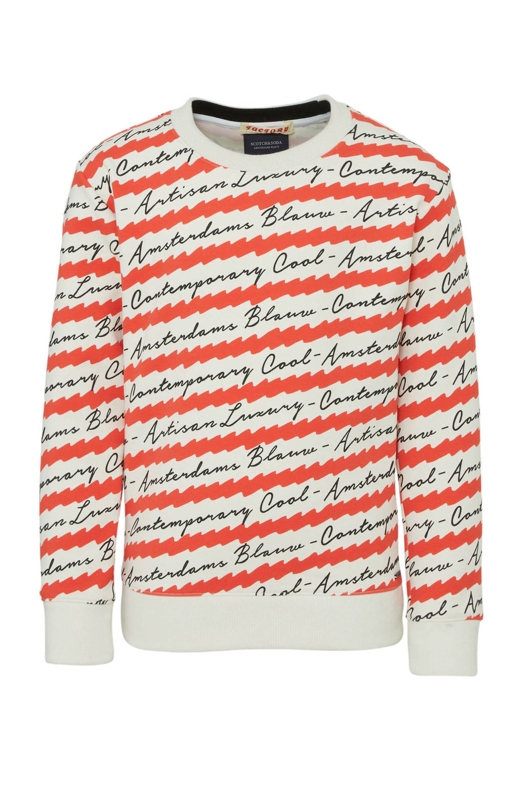 Scotch & Soda Amsterdams Blauw sweater met all over print rood/wit/zwart, Rood/wit/zwart