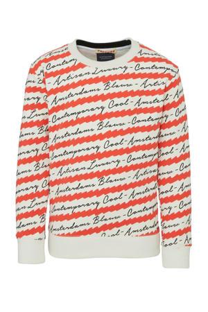 sweater met all over print rood/wit/zwart