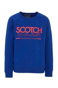 Scotch & Soda Amsterdams Blauw sweater met logo blauw/rood, Blauw/rood