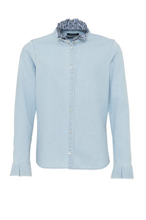 blouse met ruches light denim/blauw/wit
