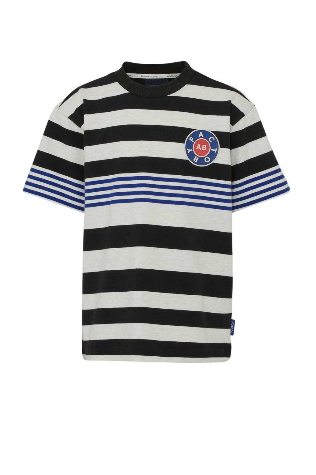 Scotch & Soda Amsterdams Blauw gestreept T-shirt ecru/donkerblauw/zwart, Ecru/donkerblauw/zwart