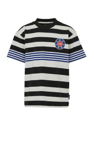 gestreept T-shirt ecru/donkerblauw/zwart