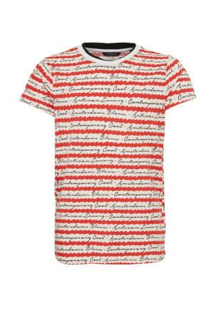 gestreept T-shirt rood/wit/zwart