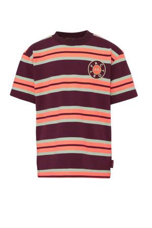 gestreept T-shirt donkerrood/oranje/grijsblauw