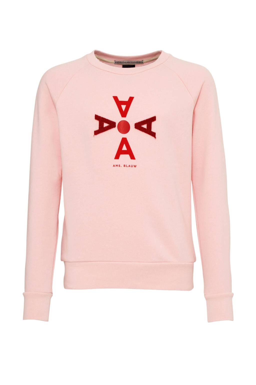 Scotch & Soda Amsterdams Blauw sweater met printopdruk en 3D applicatie lichtroze/rood, Lichtroze/rood