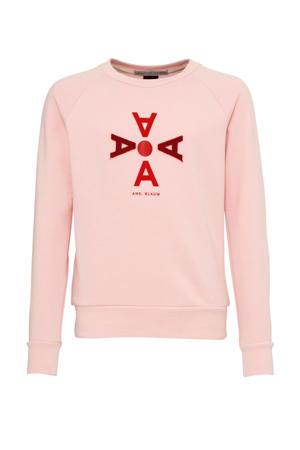 sweater met printopdruk en 3D applicatie lichtroze/rood