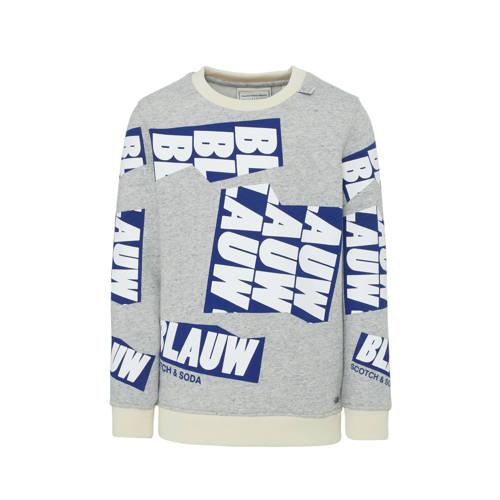 Scotch & Soda Amsterdams Blauw sweater met all