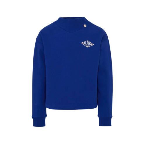 Scotch & Soda Amsterdams Blauw sweater met bor