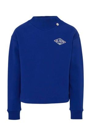 sweater met borduursels blauw/wit/rood