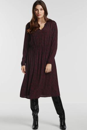 jurk met zebraprint en plooien donkerrood/zwart