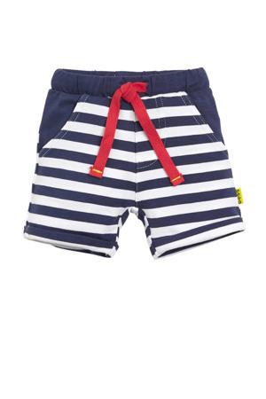 B.E.S.S baby gestreepte sweatshort donkerblauw/wit/rood