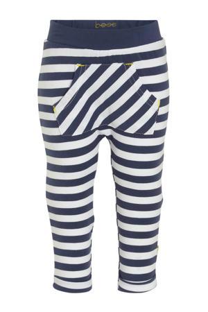 B.E.S.S baby gestreepte broek donkerblauw/wit/geel
