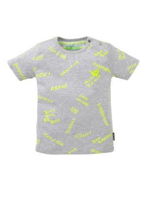 regular fit T-shirt Tristiano met all over print grijs/neon geel