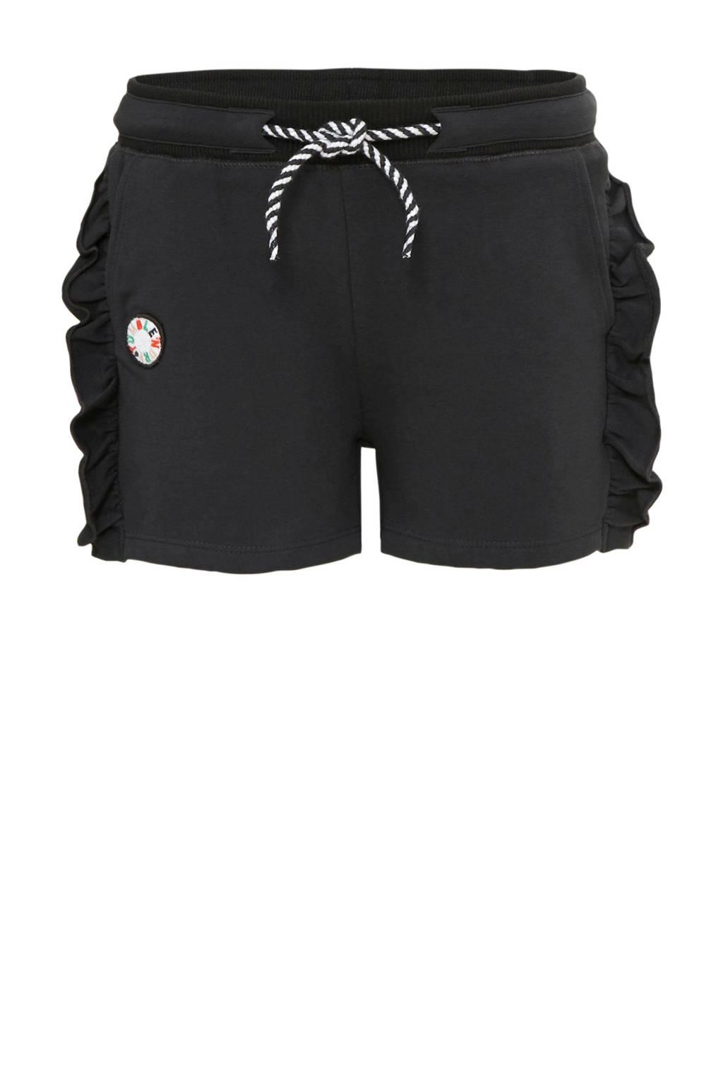 Tumble 'n Dry Mid regular fit sweatshort Lorin met patches antraciet/wit, Antraciet/wit