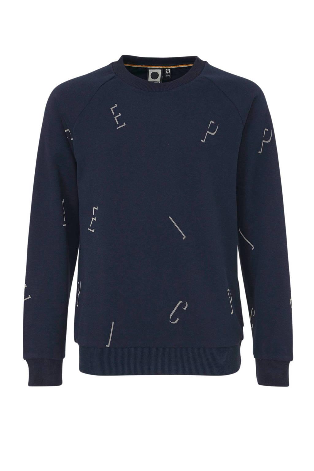 Tumble 'n Dry Hi sweater Grant met all over print donkerblauw/lichtgrijs, Donkerblauw/lichtgrijs