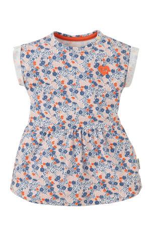 gebloemde jersey jurk Myke met zonnehoed blauw/rood/lichtroze